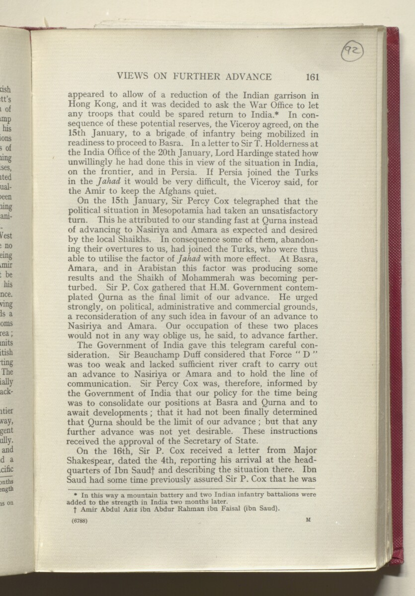 'HISTORY OF THE GREAT WAR BASED ON OFFICIAL DOCUMENTS. THE CAMPAIGN IN MESOPOTAMIA 1914-1918. VOLUME I.' [92r] (188/454)