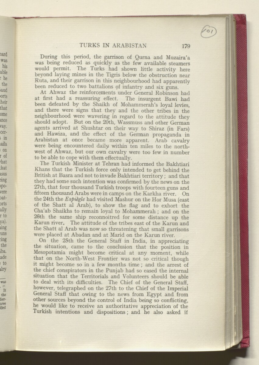 'HISTORY OF THE GREAT WAR BASED ON OFFICIAL DOCUMENTS. THE CAMPAIGN IN MESOPOTAMIA 1914-1918. VOLUME I.' [‎101r] (206/454)