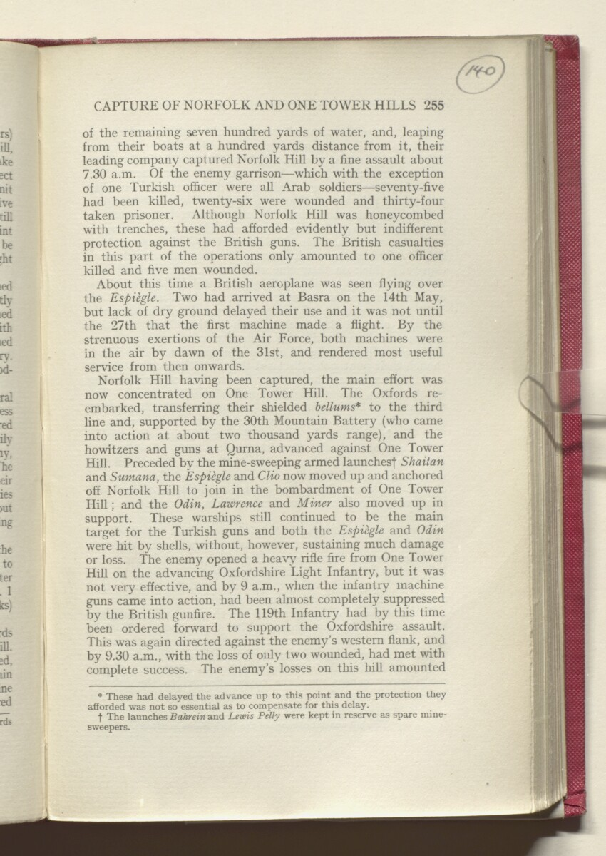 'HISTORY OF THE GREAT WAR BASED ON OFFICIAL DOCUMENTS. THE CAMPAIGN IN MESOPOTAMIA 1914-1918. VOLUME I.' [140r] (284/454)