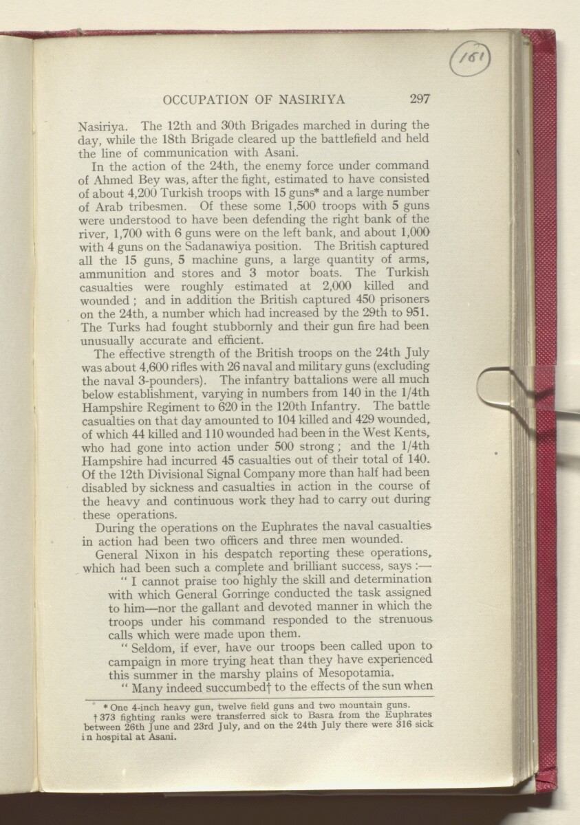 'HISTORY OF THE GREAT WAR BASED ON OFFICIAL DOCUMENTS. THE CAMPAIGN IN MESOPOTAMIA 1914-1918. VOLUME I.' [161r] (326/454)