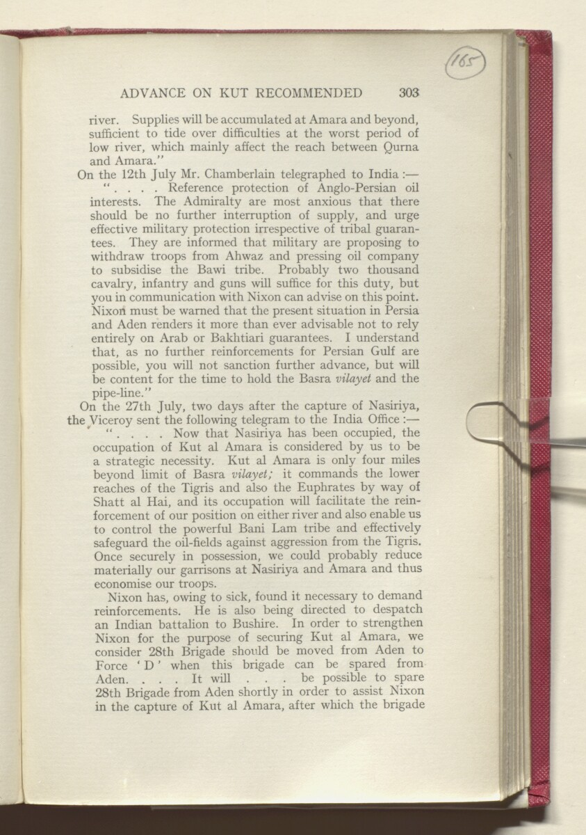 'HISTORY OF THE GREAT WAR BASED ON OFFICIAL DOCUMENTS. THE CAMPAIGN IN MESOPOTAMIA 1914-1918. VOLUME I.' [‎165r] (334/454)