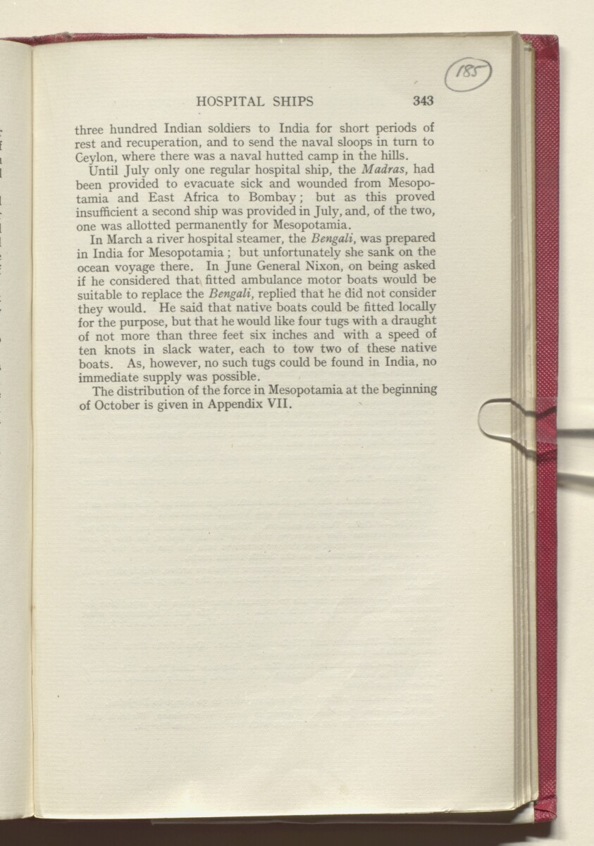 'HISTORY OF THE GREAT WAR BASED ON OFFICIAL DOCUMENTS. THE CAMPAIGN IN MESOPOTAMIA 1914-1918. VOLUME I.' [185r] (374/454)