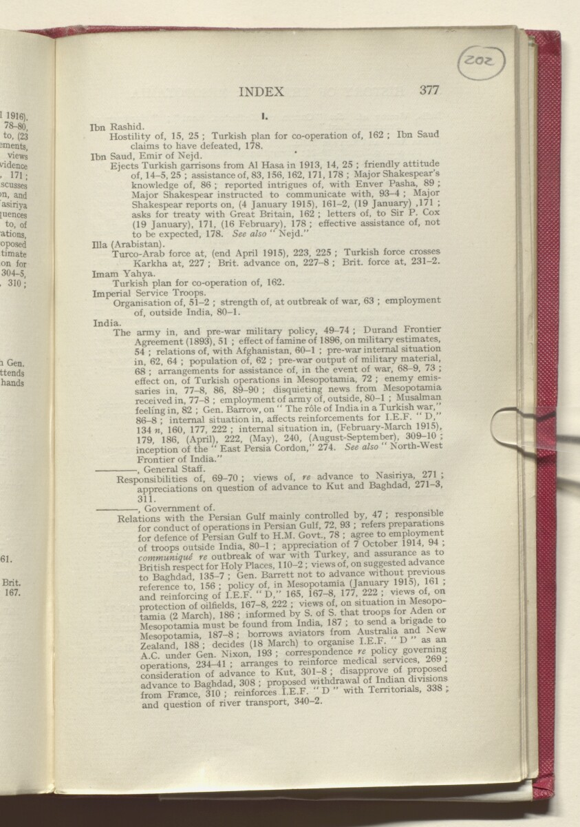 'HISTORY OF THE GREAT WAR BASED ON OFFICIAL DOCUMENTS. THE CAMPAIGN IN MESOPOTAMIA 1914-1918. VOLUME I.' [202r] (408/454)